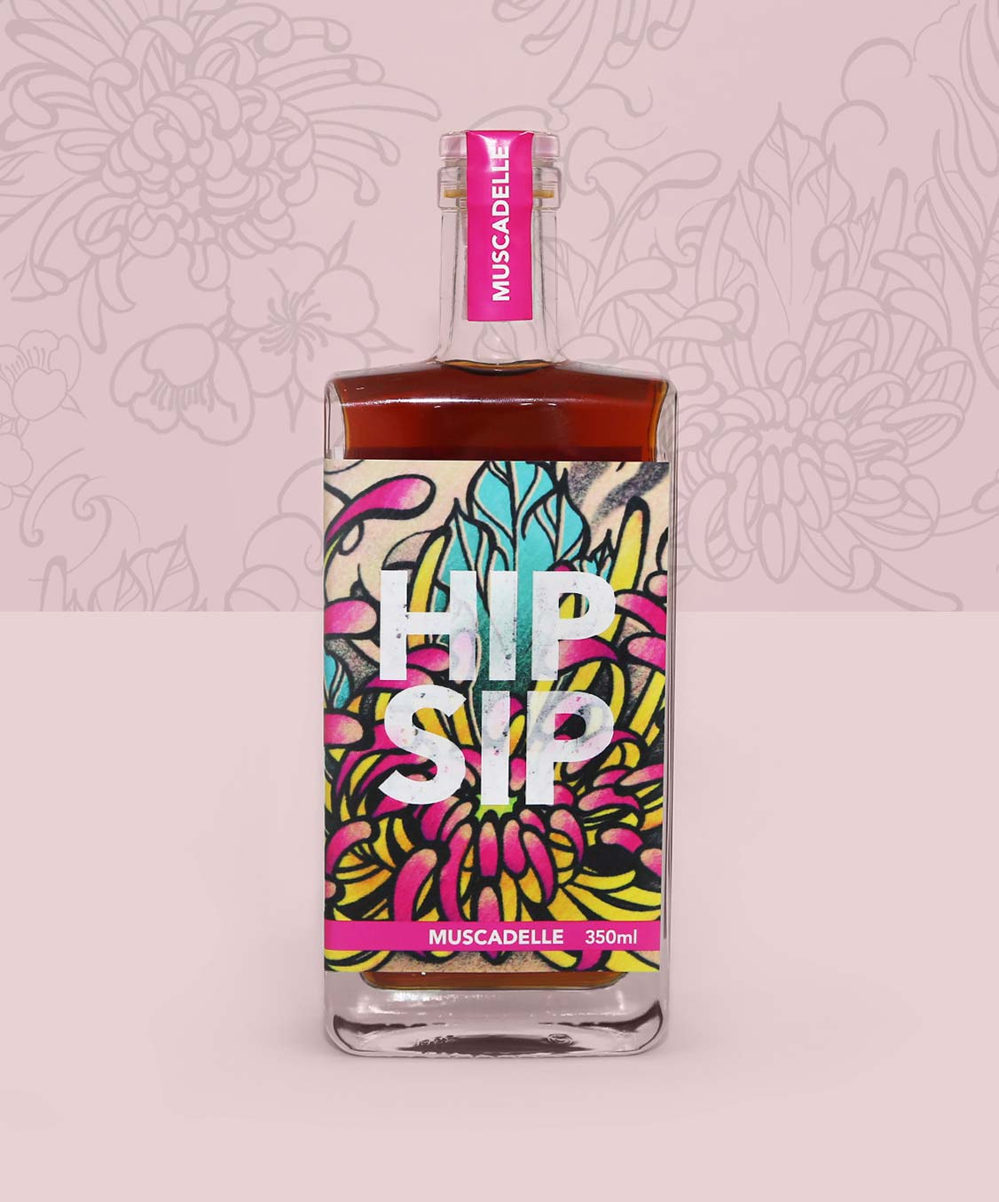 Hip Sip Muscadelle pink bottle with tattoo artwork