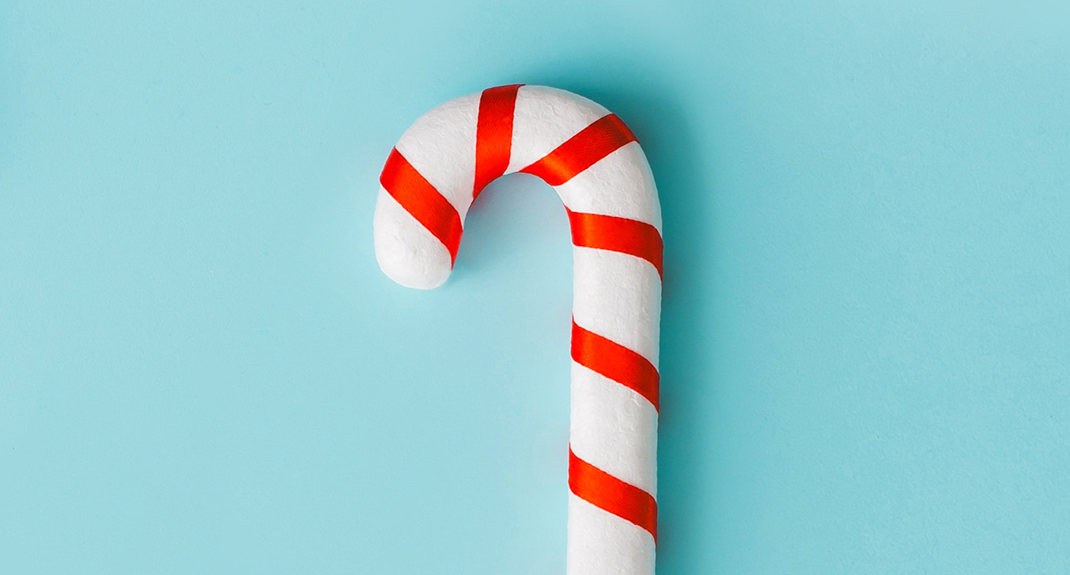Single simple Christmas candy cane